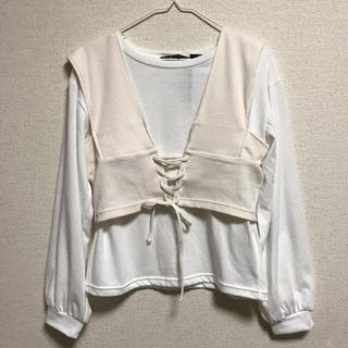 シマムラ(しまむら)のビスチェ ロンT 白(Tシャツ(長袖/七分))