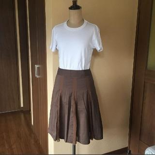 ストロベリーフィールズ(STRAWBERRY-FIELDS)のストロベリーフィールズ 茶色、ブラウン、シフォンミックス スカート(ひざ丈ワンピース)
