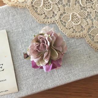 モーブバラとホワイトパープル、ラベンダー紫陽花のコサージュ(コサージュ/ブローチ)