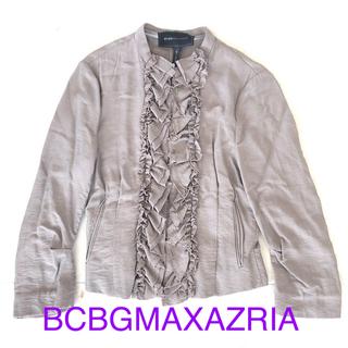 ビーシービージーマックスアズリア(BCBGMAXAZRIA)の値下げ BCBG フリルジャケット シャツ サンドベージュ(ノーカラージャケット)