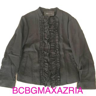 ビーシービージーマックスアズリア(BCBGMAXAZRIA)の 値下げ BCBG フリルジャケット シャツ ブラウス ブラック 黒(ノーカラージャケット)