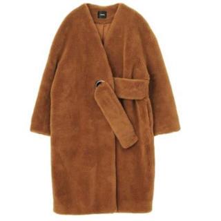 ムルーア(MURUA)の【MURUA】リングノーカラーコート(キャメル)(毛皮/ファーコート)