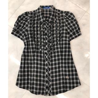 バーバリーブラックレーベル(BURBERRY BLACK LABEL)のバーバリーブルーレーベル チェックフリルブラウス黒半袖(美品)(シャツ/ブラウス(半袖/袖なし))