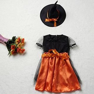 とんがり帽子 魔女 オレンジ 黒 ドレス Sサイズ ハロウィン コスプレ(衣装一式)