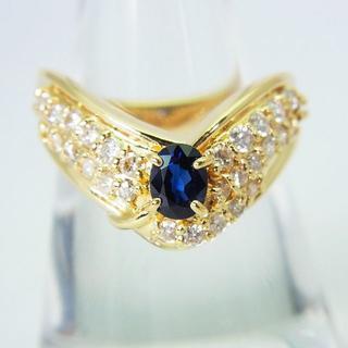 K18 サファイア ダイヤモンド リング 15号[g168-6](リング(指輪))