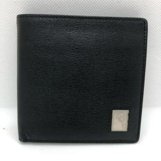 VERSACE - VERSACE ヴェルサーチ 財布 二つ折り財布 型押し ブラック