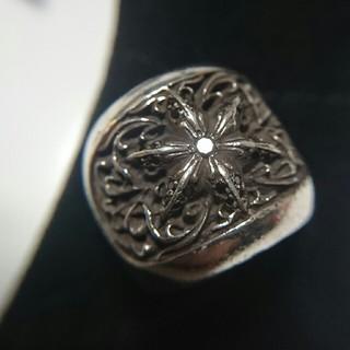 クロムハーツ(Chrome Hearts)のオーバルスターリングpaveブラックダイヤ(リング(指輪))