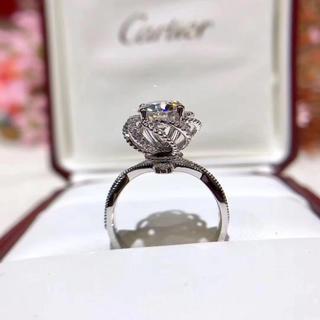 【豪華仕様】白金の薔薇 モアサナイト ダイヤ リング K18ホワイトゴールド(リング(指輪))