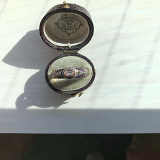 クーポン期間お値下げアンティークピンクトパーズローズカットダイヤエナメル リング(リング(指輪))