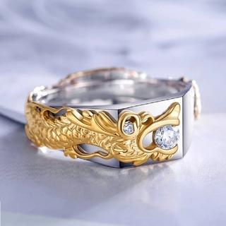 彫刻ドラゴンゴールドメッキジルコニアリング(リング(指輪))