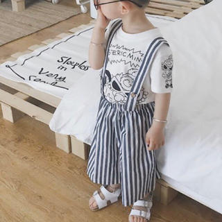 韓国子供服 サスペンダー付きストライプワイドパンツ (パンツ/スパッツ)