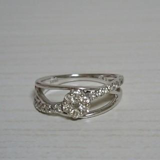 【保証書あり】18金 ホワイトゴールド ダイヤモンドリング(リング(指輪))