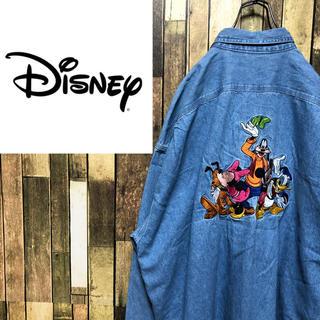 ディズニー(Disney)の【激レア】ディズニー☆ミッキーファミリービッグキャラ刺繍ビッグデニムシャツ90s(シャツ)