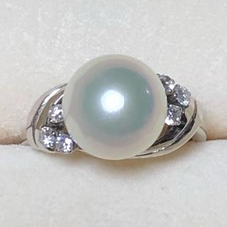 ミキモト(MIKIMOTO)の美品 ミキモト ダイヤモンドパールリング 指輪 プラチナ(リング(指輪))