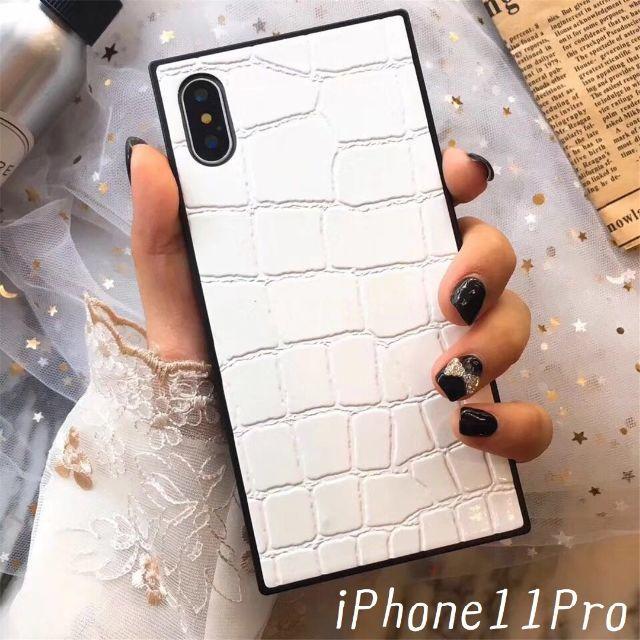 iphone7plus シャネル 、 大人気!iPhone11Pro カバー クロコダイル風 ホワイトの通販 by すわりん's shop|ラクマ