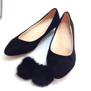 ぺたんこシューズ ぽんぽん 黒 25cm(ローファー/革靴)