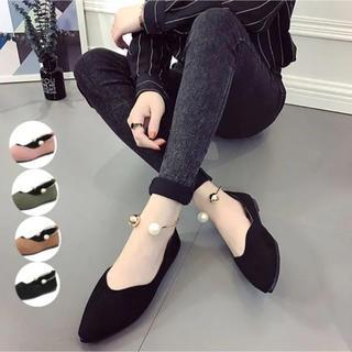 ♥ パンプス 靴 ローヒール フラット 春夏秋冬 スエード ぺたんこ(ハイヒール/パンプス)