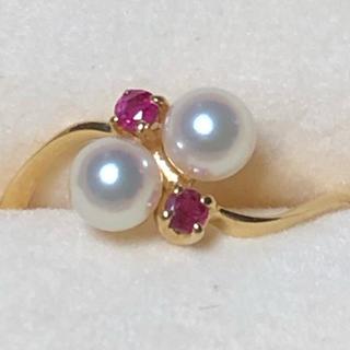 ミキモト(MIKIMOTO)の美品 ミキモト K18 ルビーパールリング 指輪 (リング(指輪))