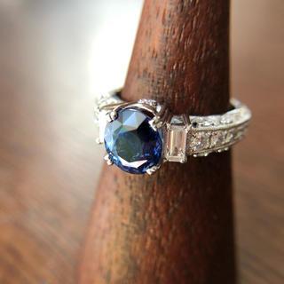 非加熱ブルーサファイア2.593ct ダイヤ ptリング(リング(指輪))