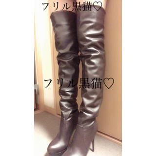 ニーハイブーツ ブラウン 42M26cm 合皮(ブーツ)