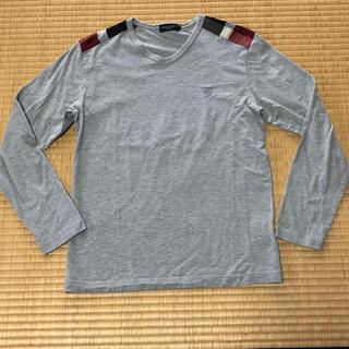 バーバリーブラックレーベル(BURBERRY BLACK LABEL)のバーバリーブラックレーベル 長袖カットソー 肩チェック柄 グレー(カットソー(長袖/七分))