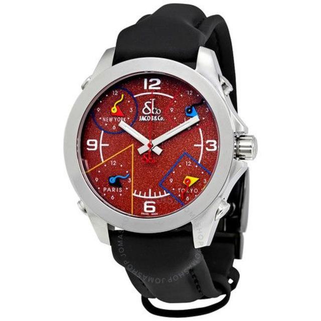 ブルガリ偽物 時計 品 | ジェイコブ Five Time Zone Red Glitter Dial Laの通販