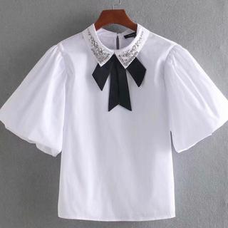 ザラ(ZARA)のSサイズ♡ビジュー襟ブラウス(シャツ/ブラウス(半袖/袖なし))
