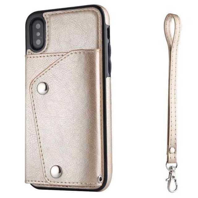 PUレザー tpu iPhone 11 pro ストラップ付属 ケース ゴールドの通販 by 団七's shop ラクマ