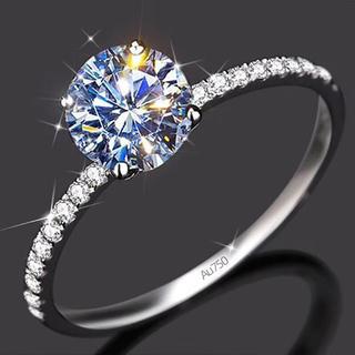 【newデザイン】輝くブリリアントラウンドカット モアサナイト  ダイヤモンド (リング(指輪))