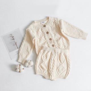 プティマイン(petit main)の韓国子供服 ケーブルニット セットアップ(カーディガン/ボレロ)