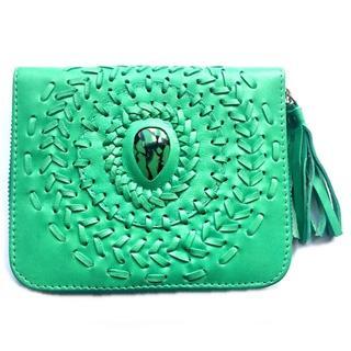 ボヘミアン☆ 本革レザー ミニ財布(エメラルドグリーン×ターコイズ)折り財布(折り財布)