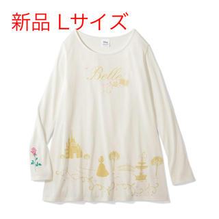 ディズニー(Disney)の美女と野獣 ベル 裾フレア 長袖チュニック Tシャツ ロンT L 薔薇(チュニック)