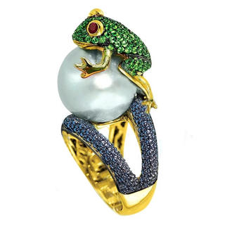 カエルのパール レディースリング(リング(指輪))