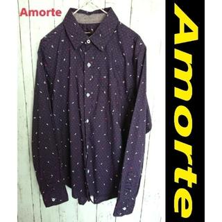 アートコレクション(Art Collection)のAmorte 音符 & ドット アート柄 長袖 シャツ 紺色 ネイビー(シャツ)
