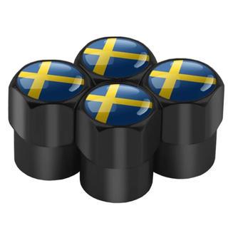 ボルボ(Volvo)のボルボ 新スウェーデン国旗 タイヤエアバルブキャップ 4個1セット(車外アクセサリ)