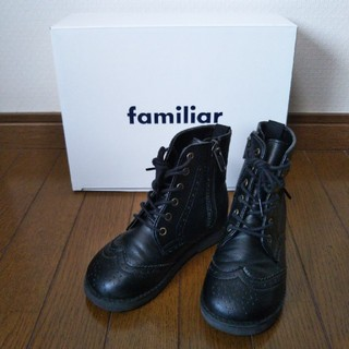 ファミリア(familiar)のファミリア 合皮 ブーツ ブラック レースアップ 16センチ 冠婚葬祭 箱付き(ブーツ)