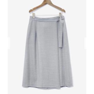 プラステ(PLST)のPLST 新品タグ付き ミディアム丈 ラップスカート グレー M(ひざ丈スカート)