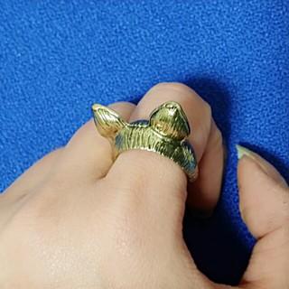 新品 ゴールドの猫耳リング(リング(指輪))