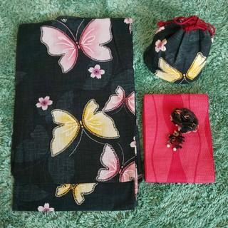 UNIQLO ユニクロ浴衣と帯・巾着・飾りのセット(浴衣)