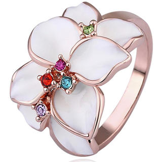 【SWAROVSKI】『花神の遊戯』ジェム 白い花  指輪 クリスタルリング(リング(指輪))