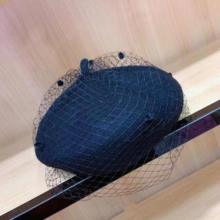 チュールベレー帽 ブラック(ハンチング/ベレー帽)
