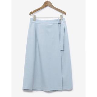 プラステ(PLST)のPLST 美品 ミディアム丈 ラップスカート 水色 ブルー M(ひざ丈スカート)