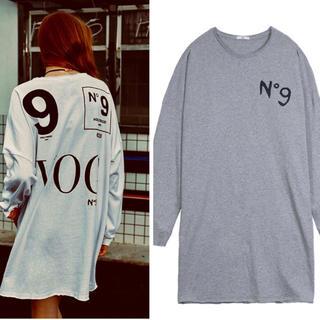 ロゴ シャツ チュニック ゆったり グレー 大きいサイズ(Tシャツ(長袖/七分))