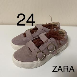 ザラ(ZARA)の新品タグ付  ZARA  本革 レザー フェザースニーカー37(スニーカー)