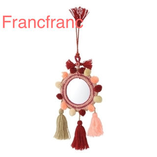 フランフラン(Francfranc)の新品 Francfranc フランフラン タッセルウォールミラー レッド(壁掛けミラー)
