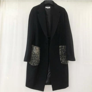 ラフシモンズ(RAF SIMONS)のcruffin fur pocket coat ブラック(チェスターコート)
