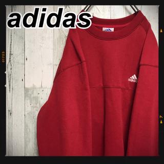 アディダス(adidas)の【激レア】★アディダス ビッグシルエット 万国旗タグ 刺繍ロゴ 赤 90's (スウェット)