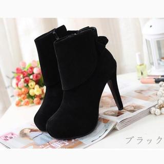 黒 スエード リボン ショートブーツ 24センチ(ブーツ)