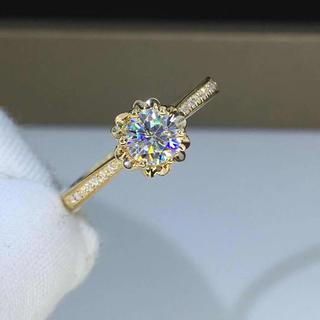 【newデザイン】輝く黄金薔薇 モアサナイト  ダイヤモンド  リング k18(リング(指輪))
