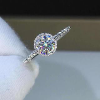 【0.5カラット】輝くモアサナイト ダイヤモンド リング k18WG(リング(指輪))